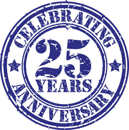 10 years: Celebrating 25 years anniversary grunge rubber stamp, vector illustration