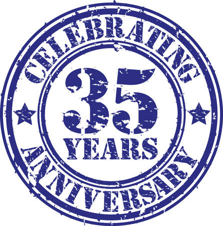 35 years: Celebrating 35 years anniversary grunge rubber stamp, vector illustration