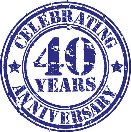 Celebrating 40 years anniversary grunge rubber stamp, vector illustration  Vector