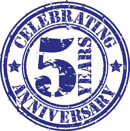 Celebrating 5 years anniversary grunge rubber stamp, vector illustration  일러스트