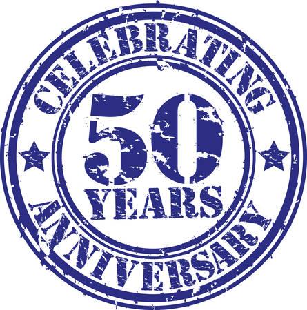 50 年周年記念グランジ スタンプを祝って、ベクトル イラスト  イラスト・ベクター素材