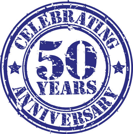 Celebrating 50 years anniversary grunge rubber stamp, vector illustration  Иллюстрация