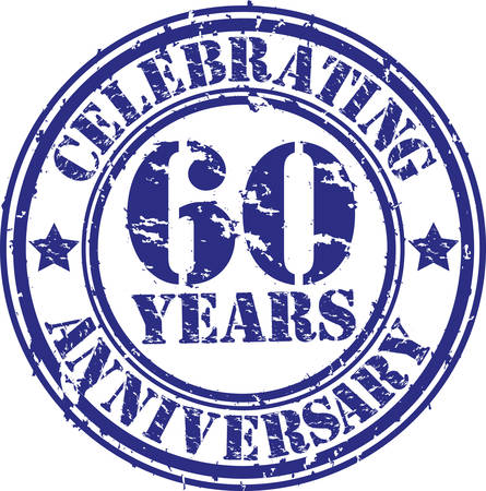 60 years: Celebrating 60 years anniversary grunge rubber stamp, vector illustration