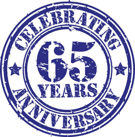 65th: Celebrating 65 years anniversary grunge rubber stamp, vector illustration