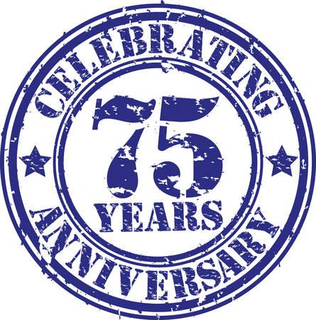 75 年周年グランジ スタンプを祝って、ベクトル イラスト