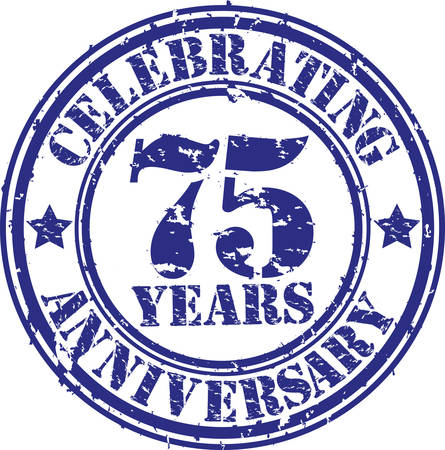 Celebrating 75 years anniversary grunge rubber stamp, vector illustration Stock Vector - 26109129
