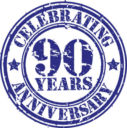 90 years: Celebrando 90 anni anniversario grunge timbro di gomma, illustrazione vettoriale Vettoriali
