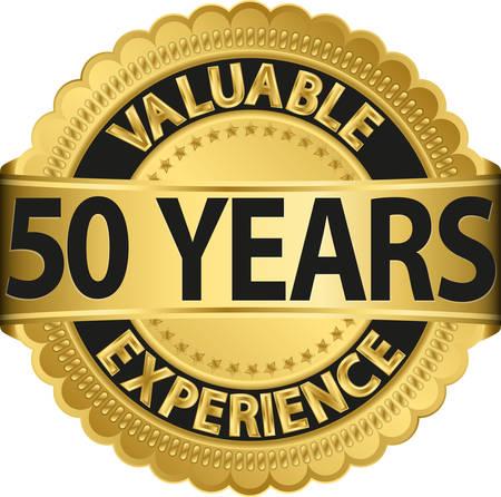 Waardevolle 50 jaar ervaring gouden label met lint, vector illustration Stock Illustratie