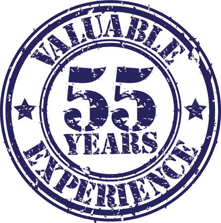 Valuable 55 years of experience rubber stamp, vector illustration  Vector