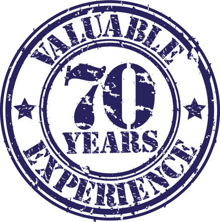 70 years: Valuable 70 years of experience rubber stamp, vector illustration