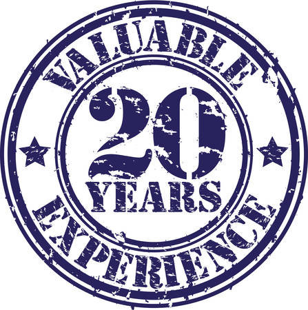20 years: Valuable 20 years of experience rubber stamp, vector illustration  Illustration