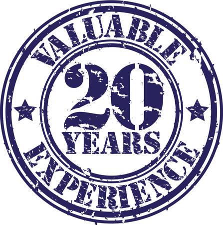 Wertvolle 20 Jahre Erfahrung Stempel, Vektor-Illustration