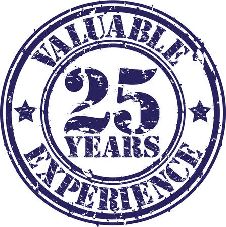 25: Valuable 25 years of experience rubber stamp, vector illustration