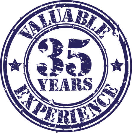 35 years: Valuable 35 years of experience rubber stamp, vector illustration