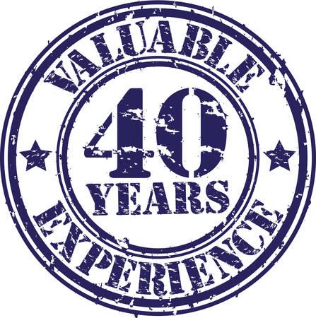 Valiosos 40 años de experiencia sello de goma, ilustración vectorial Foto de archivo - 26109353