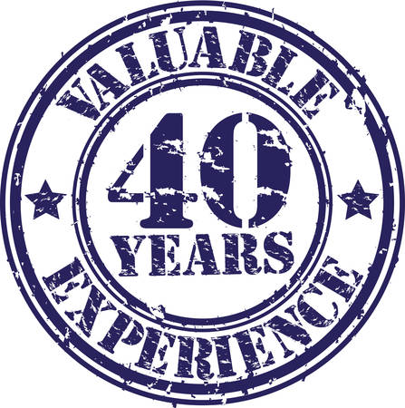40 years: Valuable 40 years of experience rubber stamp, vector illustration