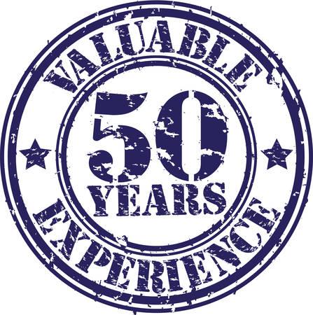 Preziosi 50 anni di esperienza timbro di gomma, illustrazione vettoriale Archivio Fotografico - 26109355