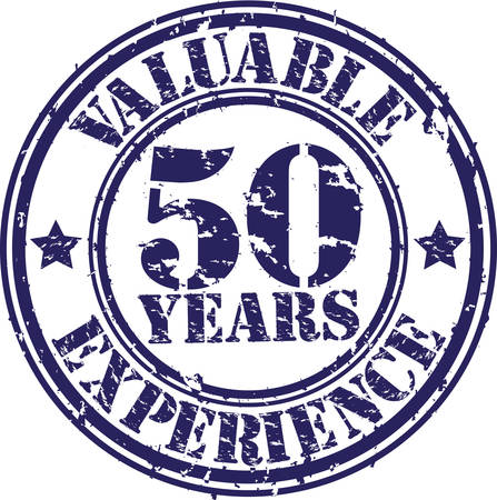 Valuable 50 years of experience rubber stamp, vector illustration  Vector