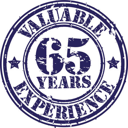 65th: Valuable 65 years of experience rubber stamp, vector illustration