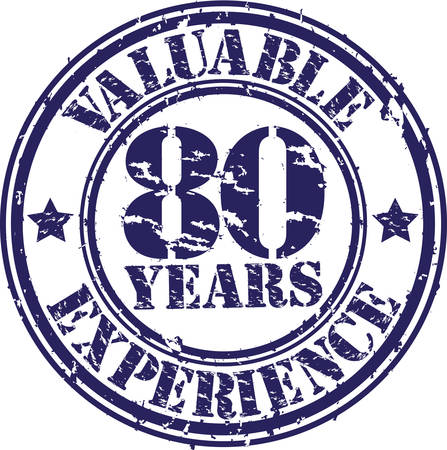 80 years: Valuable 80 years of experience rubber stamp, vector illustration