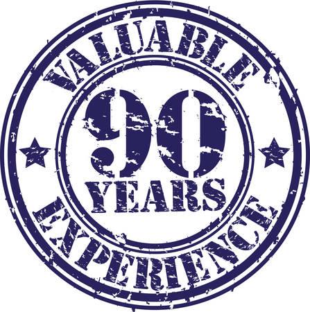 90 years: Preziosi 90 anni di esperienza timbro di gomma, illustrazione vettoriale