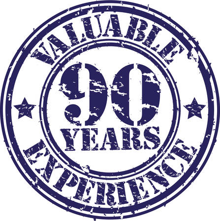 90th: Valuable 90 years of experience rubber stamp, vector illustration