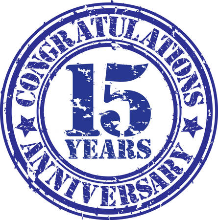 15: Congratulations 15 years anniversary grunge rubber stamp, vector illustration  Illustration