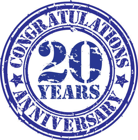 20th: Congratulations 20 years anniversary grunge rubber stamp, vector illustration