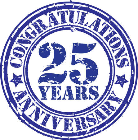 25: Congratulations 25 years anniversary grunge rubber stamp, vector illustration