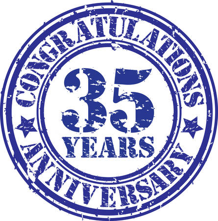 35th: Congratulations 35 years anniversary grunge rubber stamp, vector illustration  Illustration