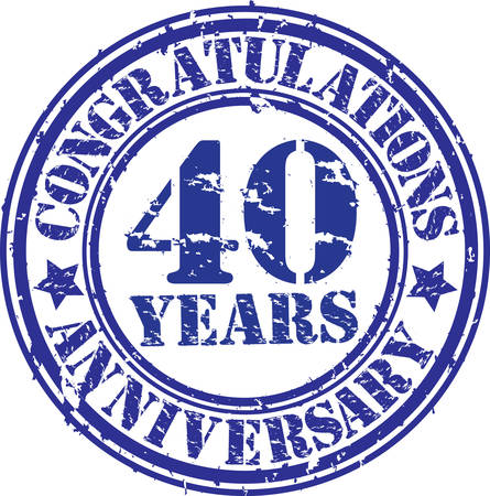 40: Congratulations 40 years anniversary grunge rubber stamp, vector illustration
