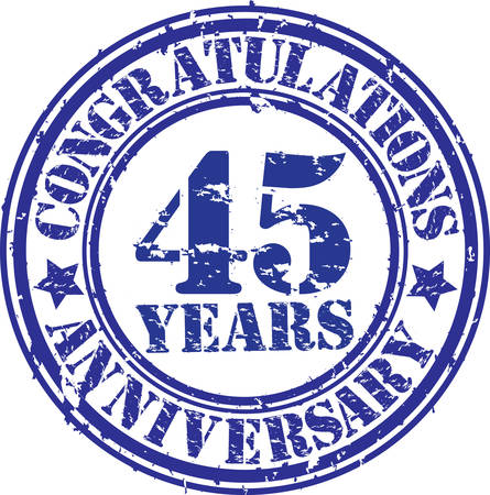 45th: Congratulations 45 years anniversary grunge rubber stamp, vector illustration