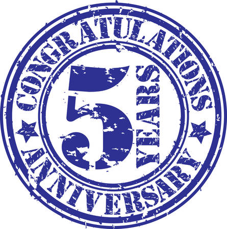 5th: Congratulations 5 years anniversary grunge rubber stamp, vector illustration