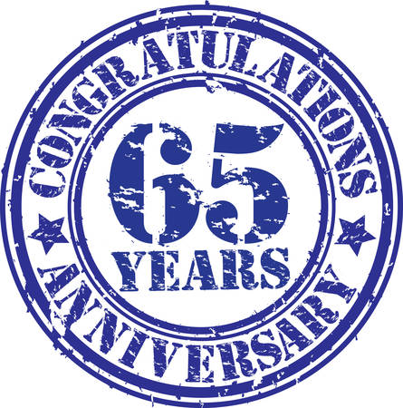 65th: Congratulations 65 years anniversary grunge rubber stamp, vector illustration