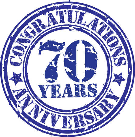 70 years: Congratulations 70 years anniversary grunge rubber stamp, vector illustration