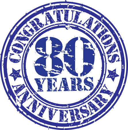 Congratulations 80 years anniversary grunge rubber stamp, vector illustration  Vector