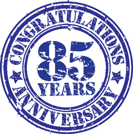 Congratulations 85 years anniversary grunge rubber stamp, vector illustration  Vector
