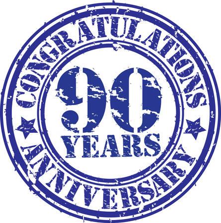 90 years: Congratulazioni per 90 anni anniversario grunge timbro di gomma, illustrazione vettoriale Vettoriali