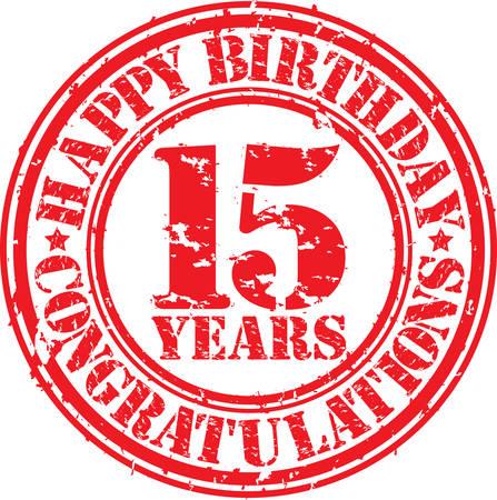 お誕生日おめでとう 15 年グランジ ゴム印、ベクトル イラスト