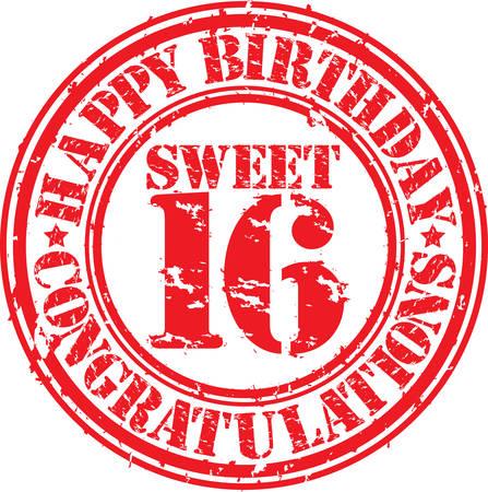 幸せな誕生日の甘い 16 グランジ ゴム印、ベクトル イラスト