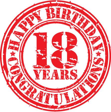 celebracion cumplea�os: Feliz cumplea�os sello de 18 a�os de goma del grunge, ilustraci�n vectorial Vectores