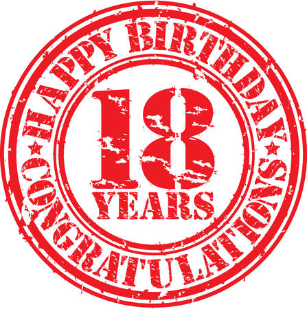 40 years: Happy birthday 18 years grunge rubber stamp, vector illustration