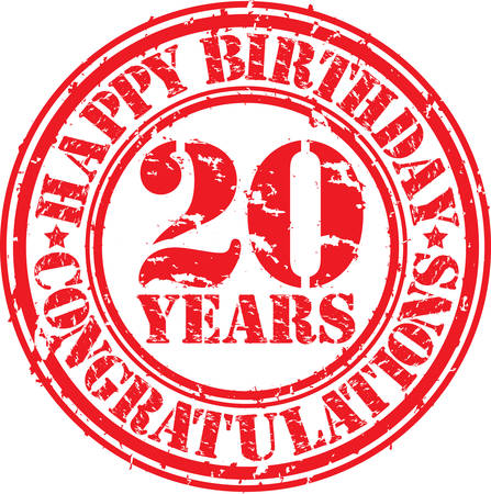 th: Happy birthday 20 years grunge rubber stamp, vector illustration  Illustration