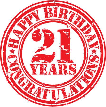 お誕生日おめでとう 21 年グランジ ゴム印、ベクトル イラスト