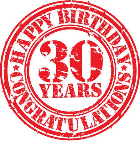 Happy birthday 30 years grunge rubber stamp, vector illustration  Illustration