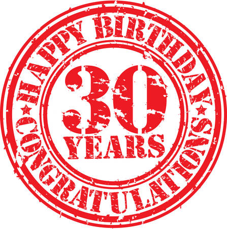 40 years: Happy birthday 30 years grunge rubber stamp, vector illustration  Illustration