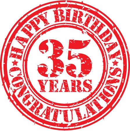 35 years: Happy birthday 35 years grunge rubber stamp, vector illustration