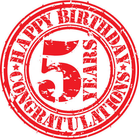 5th: Happy birthday 5 years grunge rubber stamp, vector illustration
