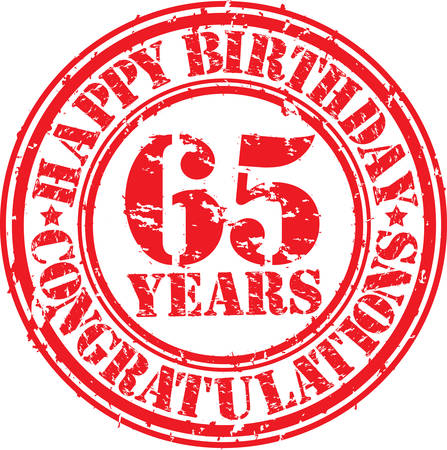 65th: Happy birthday 65 years grunge rubber stamp, vector illustration