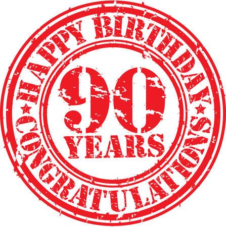 90 years: Buon compleanno 90 anni timbro di gomma grunge, illustrazione vettoriale